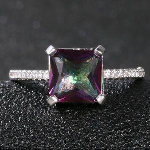 Silver Princess Cut Mystic Topaz Diamond Ring